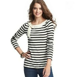 LOFT Nautical Stripe Bow Boat Neck Tee Size XS
